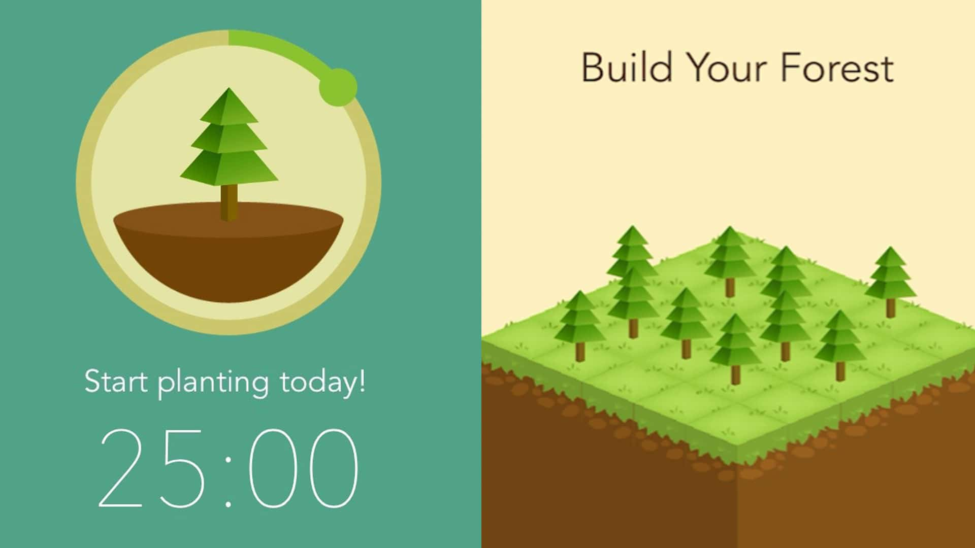 The forest app which can be used with the Pomodoro method
