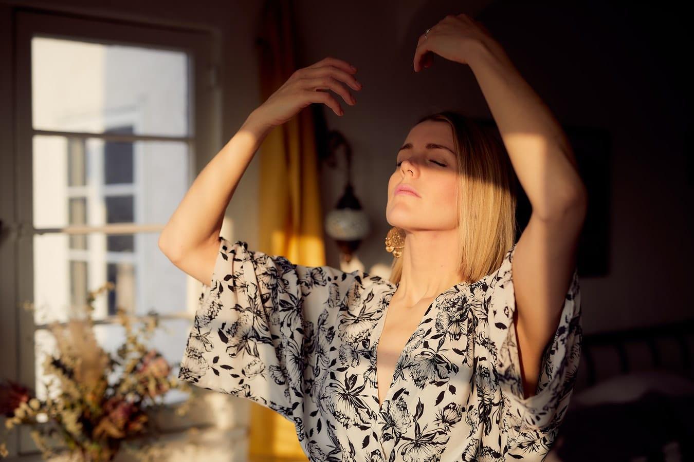 Woman practising conscious breathing